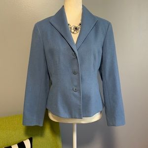 Lafayette 148 Blue Angora Wool Blend Blazer